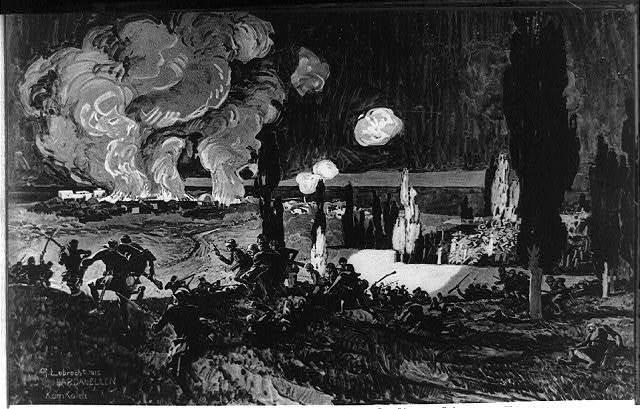"""Erstürmung des Friedhofs von Kum Kaleh druch die türkischen Truppen in der Schlacht vom 25 und 26 April 1915 / G. Lebrecht 1915 ; Georg Lebrecht für die Leipziger """"Illustrirte Zeitung."""""""