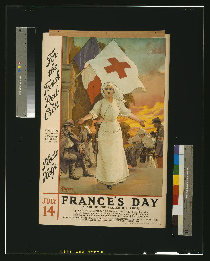 For the French Red Cross. Please help. July 14. France's day, in aid of the French Red Cross / Forestier ; W.H. Smith & Son, The Arden Press, Stamford Street, London, S.E.