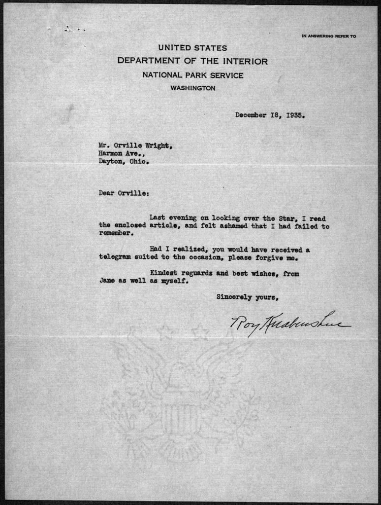 General Correspondence:  Knabenshue, Roy, 1915-1916, 1928-1944