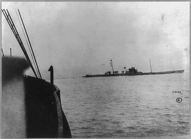 German submarine U-36 seen going round the bows of the Batavier V