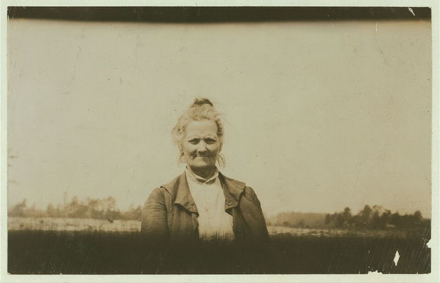 Grandmother of the Britt children. See 1914, also report of Lewis W. Hine on North Carolina. April 1915.  Location: Evergreen, North Carolina.