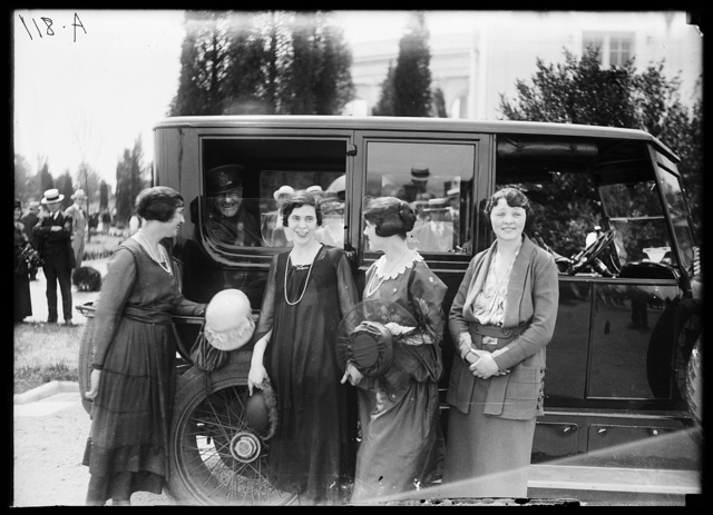 [Group of women outside automobile with General Pershing]