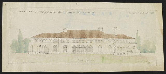 "[House (""La Selva"") for Henry Sanderson, Upper Brookville, Long Island, New York. Elevation] / Hunt & Hunt archts."