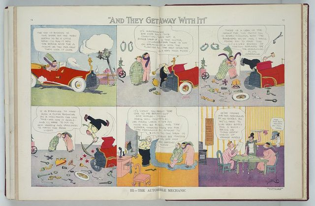 """III - The automobile mechanic. """"And they get away with it"""" / R.L. Goldberg ; drawn expressly for PUCK by R.L. Goldberg."""