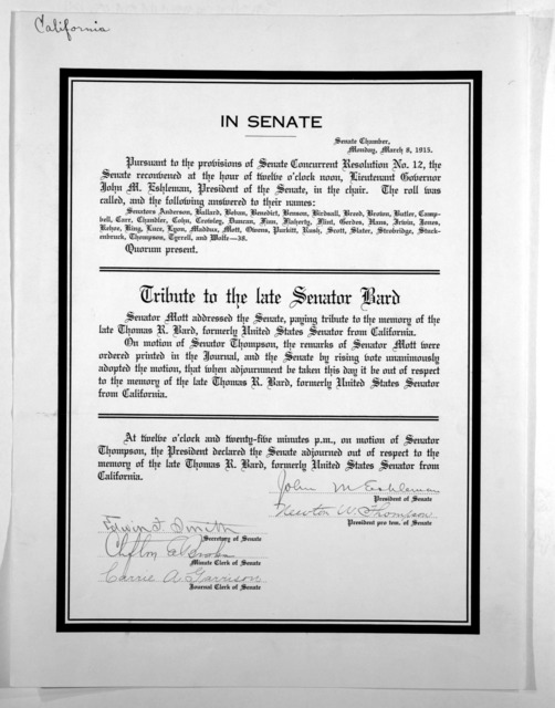 In Senate, Senate Chamber Monday, March 8, 1915. Pursuant to the provisions of Senate concurrent resolution no. 12, the Senate reconvened at the hour of twelve o'clock noon ... Tribute to the late Senator Bard .... at twelve o'clock and twenty-f