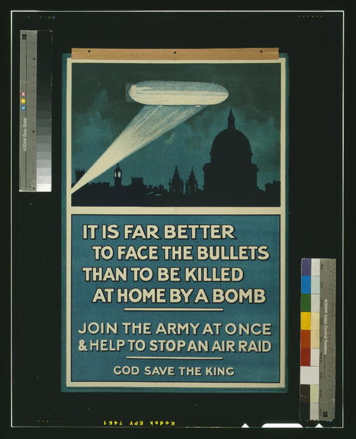 It is far better to face the bullets than to be killed at home by a bomb. Join the army at once & help to stop an air raid. God save the king / Andrew Reid & Co., Ltd., 50, Grey Street, Newcastle-on-Tyne.