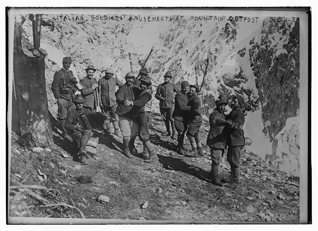 Italian soldiers' amusements at mountain outpost