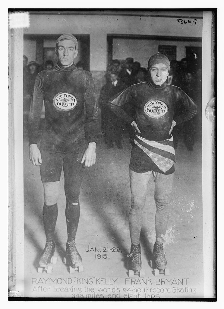 """Jan. 21-22, 1915 -- Raymond """"King"""" Kelly, Frank Bryant -- After breaking the World's 24 hour record skating 348 miles and 8 laps [on the ice -- Duluth]"""
