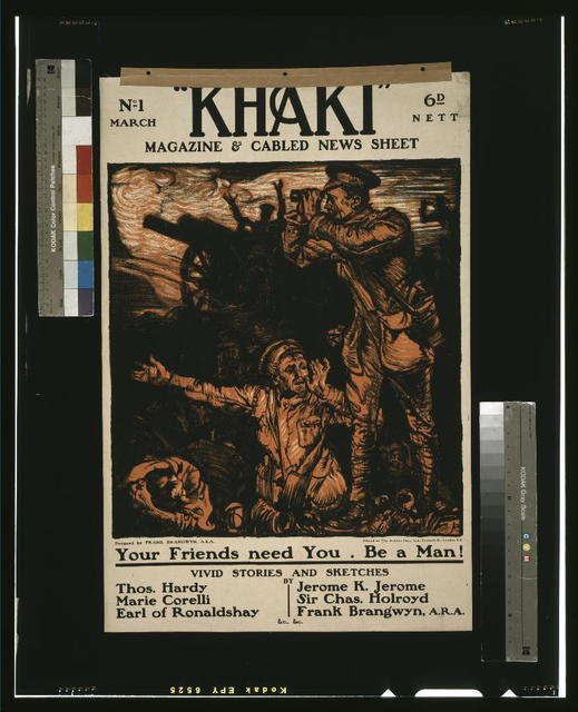 """Khaki"" magazine & cabled news sheet / designed by Frank Brangwyn, A.R.A. ; printed by The Avenue Press, Ltd., Bouverie St., London, E.C."