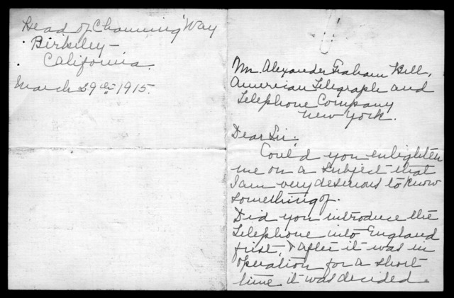 Letter from Carrie W. Woodworth to Alexander Graham Bell, March 29, 1915