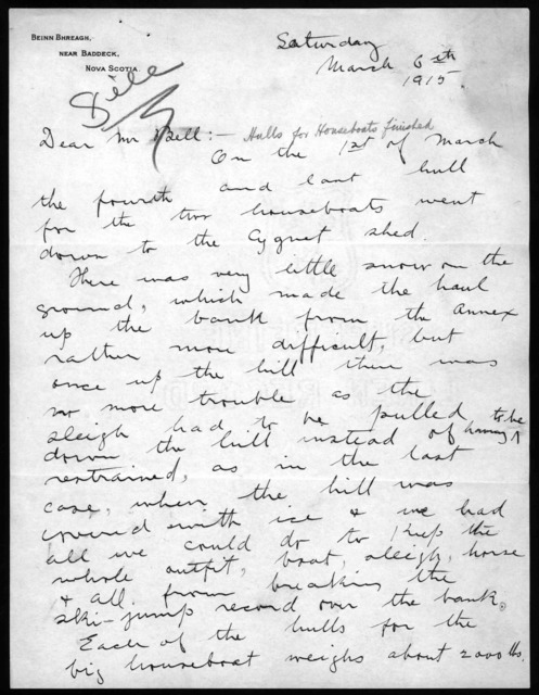 Letter from Frederick W. Baldwin to Alexander Graham Bell, March 6, 1915