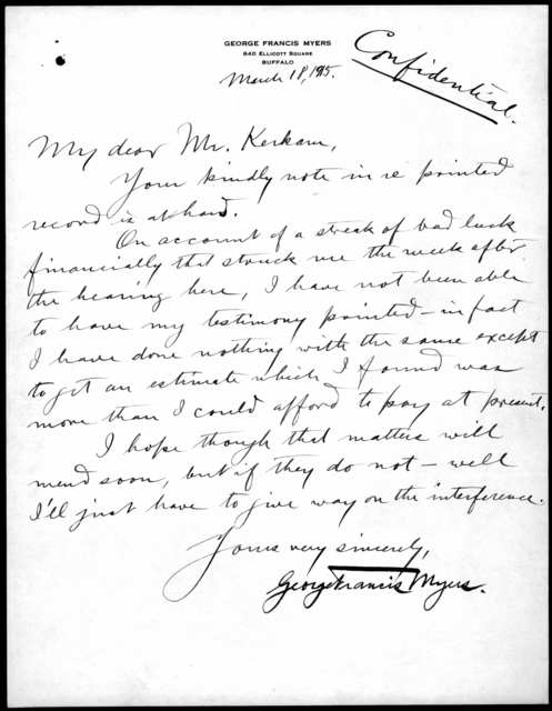 Letter from George F. Myers to Mr. Kerkam, March 18, 1915
