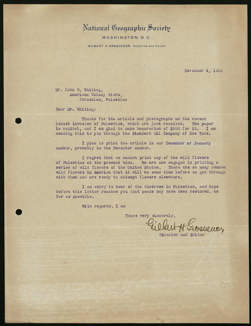 Letter from Gilbert H. Grosvenor, director and editor, National Geographic Society, to John D. Whiting