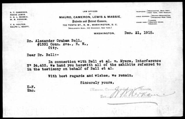 Letter from Mauro, Cameron, Lewis & Massie to Alexander Graham Bell, December 21, 1915
