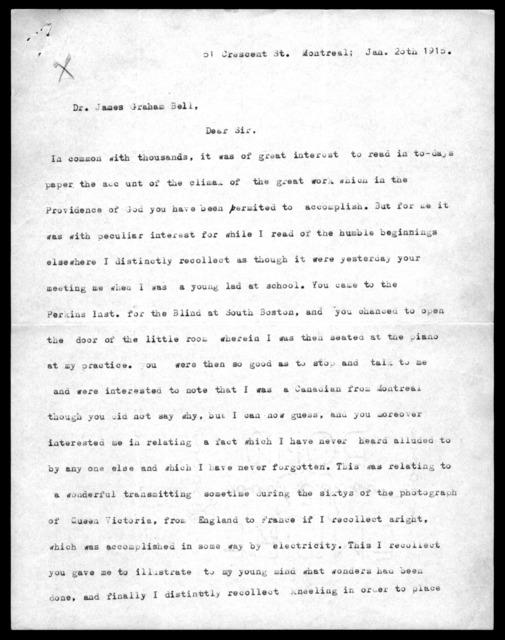 Letter from Septimus Fraser to Alexander Graham Bell, January 26, 1915