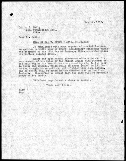 Letter to Alexander Graham Bell, May 14, 1915