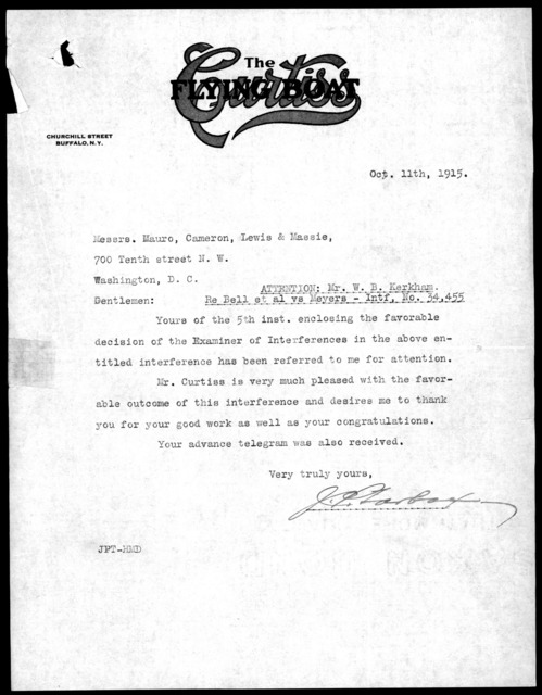 Letter to Mauro, Cameron, Lewis & Massie, October 11, 1915