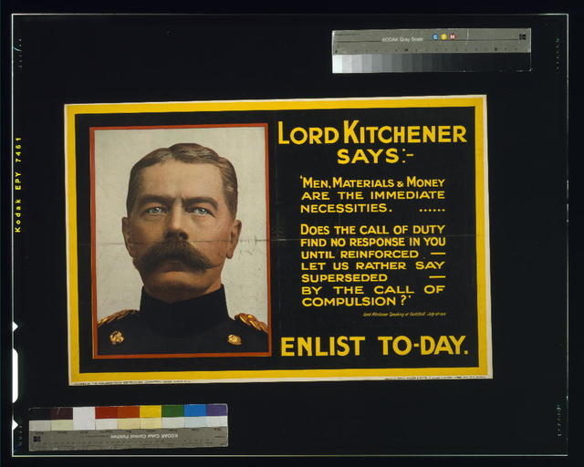 Lord Kitchener says: Enlist to-day / photo Bassano ; printed by David Allen & Sons Ld., Harrow, Middlesex.