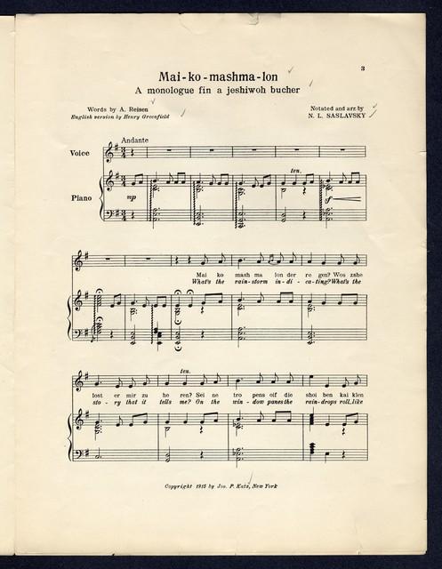 Mai-ko mash-malon A monologue fin a jeshiwoh bucher