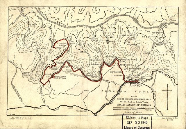 Map of Hermit Rim Road and Hermit Trail.