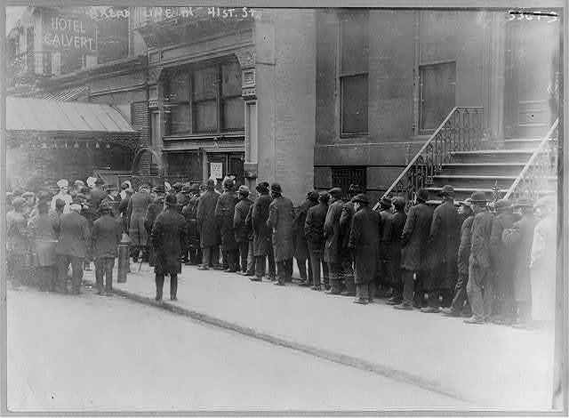 [Men in bread line on 41st St., New York City]