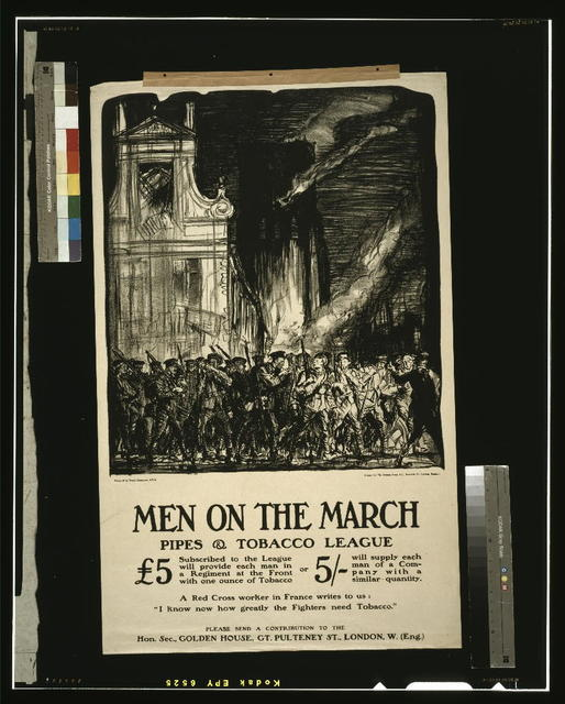 Men on the March Pipes & Tobacco League / designed by Frank Brangwyn, A.R.A. ; printed by The Avenue Press, Ltd., Bouverie St., London, England.