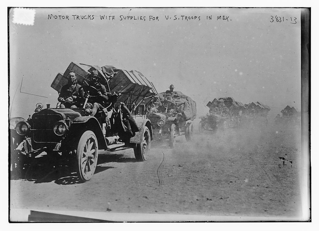 Motor trucks with supplies for U.S. troops in Mex. [i.e., Mexico]