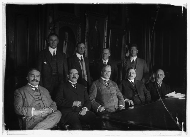 NAT. ADVISORY COMM. FOR AERONAUTICS. REAR ROW: CAPT. H.C. RICHARDSON, NAVAL CONSTRUCTION; PROF. JOHN F. HAYFORD; ADM. MARK BRISTOL; COL. SAMUEL REBER. FRONT: PROF. WILLIAM F. DURAND; DR. S.W. STRATTON; GEN. GEORGE P. SCRIVEN; DR. CHARLES F. MARVIN; M.I. PUFIN