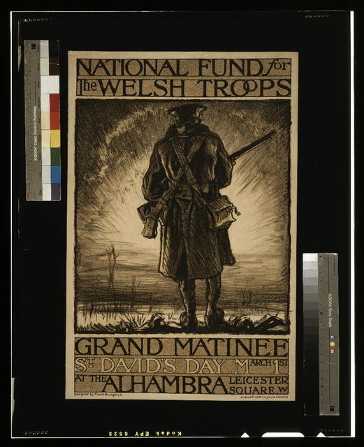 National fund for the Welsh troops. Grand Matinee, St. David's day, March 1st, at the Alhambra, Leicester Square, W. / designed by Frank Brangwyn ; Avenue Press, Drury Lane, London.