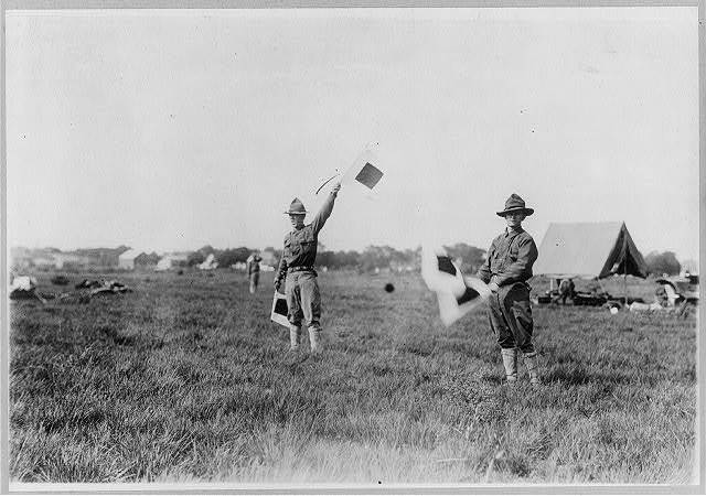 [N.Y. National Guard training and maneuvers at Fishkill and Peekskill, N.Y.: 2 soldiers signalling with flags]