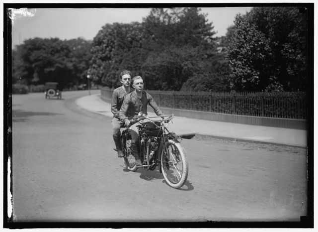 O'BRIEN AND BAKER. TRANSCONTINENTAL MOTORCYCLISTS. AT NORTH OF ELLIPSE BELOW WHITE HOUSE