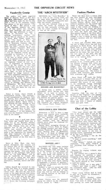 Orpheum Circuit News, November 14, 1915 Needle threading trick