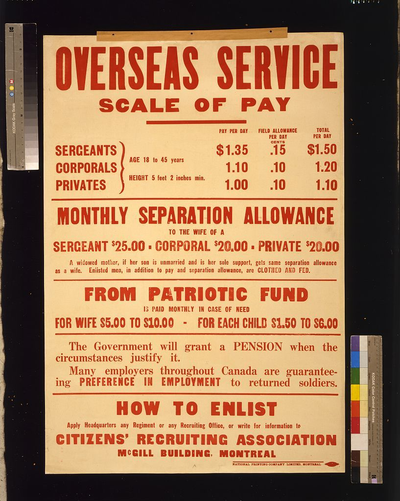 Overseas service scale of pay [and] How to enlist