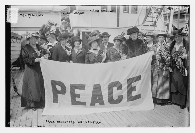 Peace Delegates on NOORDAM -- Mrs. P. Lawrence, Jane Addams, Anna Molloy
