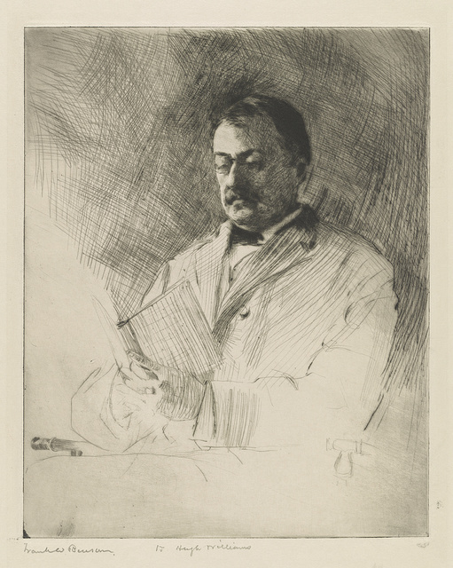 [Portrait of George R. Agassiz, professor of zoology at Harvard University, reading a book]