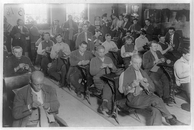 Prisoners knitting in one of their classrooms, Sing Sing