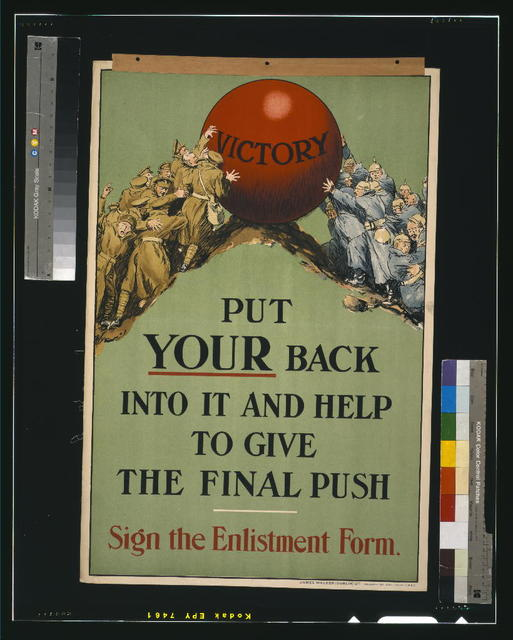 Put your back into it and help to give the final push. Sign the enlistment form / James Walker (Dublin) Ltd.