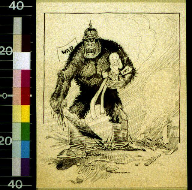 [Raging ape of war with bloody sword carrying crying baby of 1915]