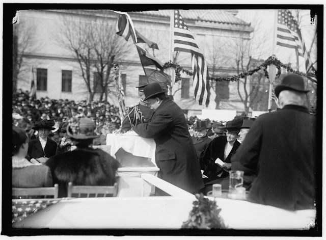 RED CROSS, AMERICAN CORNERSTONE LAYING, PRESIDENT WILSON AND EX-PRESIDENT TAFT OFFICIATING