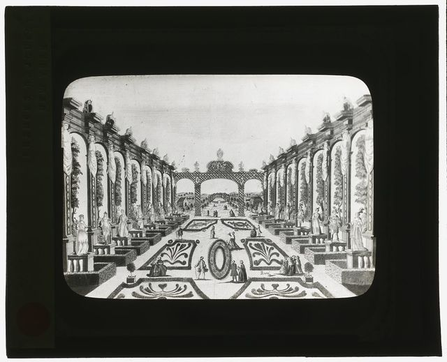 [Reproduction of print showing Axarian Pleasure Garden, Saint Petersburg, Russia. View to trellis]