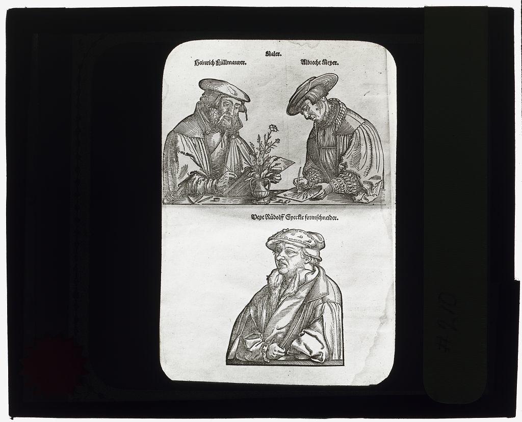 [Reproduction of print showing portraits of artists Albrecht Meyer, Heinrich Füllmaurer, and Veit Rudolf Speckle]