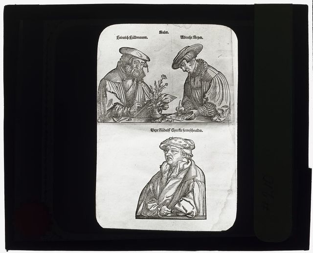 [Reproduction of print showing portraits of artists Albrecht Meyer, Heinrich Füllmaurer, and Veit Rudolf Speckle]