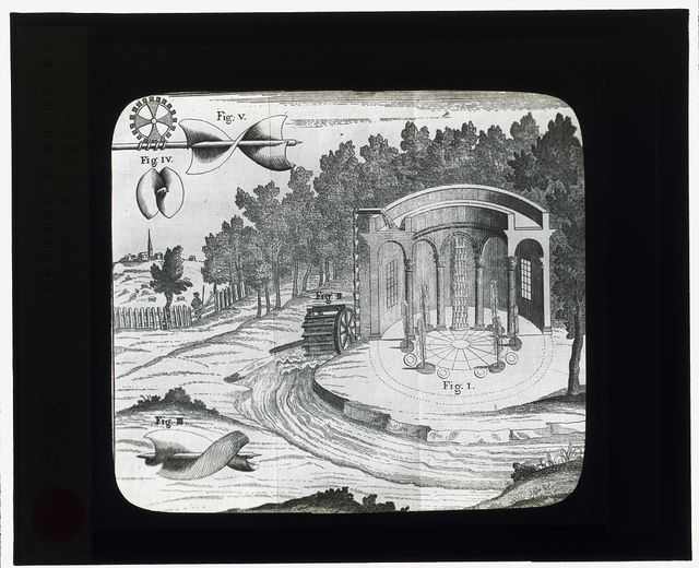 [Reproduction of print showing Water wheel, Archimedian screw, and pavilion]