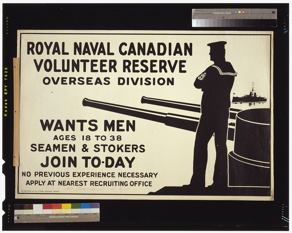 Royal Naval Canadian Volunteer Reserve Overseas Division wants men ages 18 to 38. Seamen & stokers. Join to-day