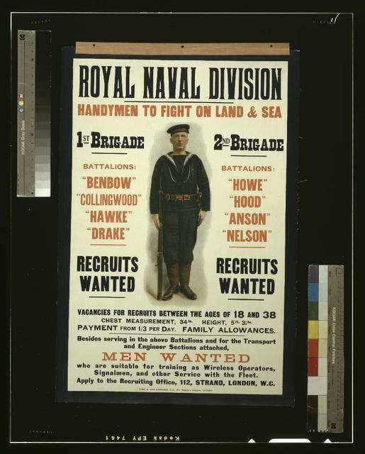 Royal naval division. Handymen to fight on land & sea [...] Men wanted [...] / Eyre & Spottiswoode, Ltd., His Majesty's Printers, London.