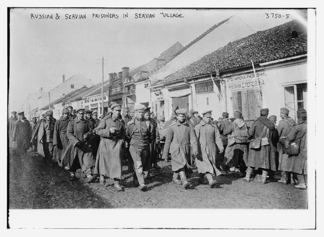 Russian & Servian [i.e., Serbian] prisoners in Servian village