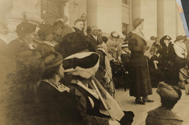 Sara Bard Field speaking at Salt Lake City, Oct. 4, 1915, Gov[ernor] Spry of Utah and Mayor Park of Salt Lake City in attendance.