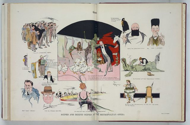 Scenes and behind scenes at the Metropolitan opera / Hy Mayer ; drawn by Hy Mayer.