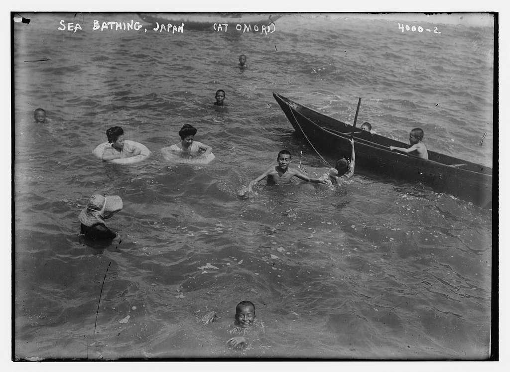 Sea bathing, Japan (at Omori)