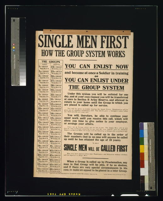 Single men first. How the group system works / Hazell, Watson & Viney, Ld., 52, Long Acre, W.C.